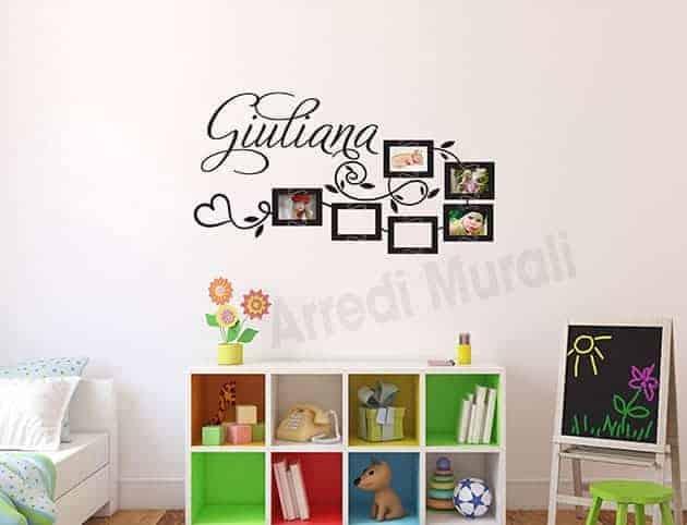 adesivi murali personalizzati cornici foto nome