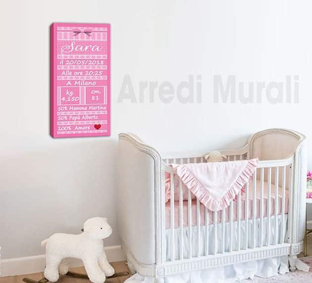 quadro moderno personalizzato stampa dati nascita bambina