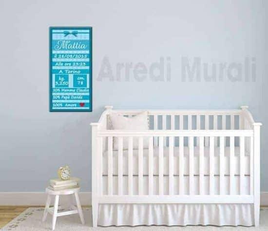quadro moderno personalizzato stampa dati nascita bambino