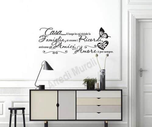 scritte adesive murali frase casa decorazioni da parete
