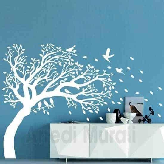 Adesivi murali albero decorazioni da parete bianco