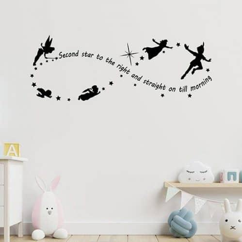 Adesivi murali frase Peter Pan decorazioni da parete nero