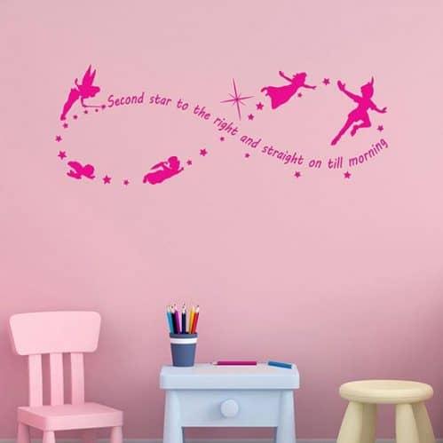 Adesivi murali frase Peter Pan decorazioni da parete rosa