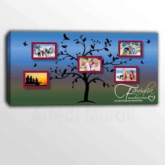 quadro su tela con frase e foto famiglia personalizzate