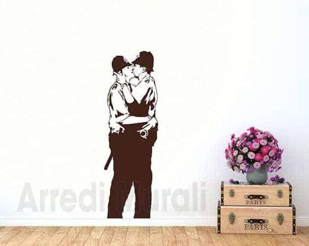 adesivi da parete Banksy Kissing coppers decorazioni murali