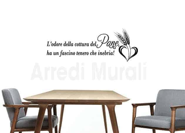 ADESIVI MURALI FRASE PANE DECORAZIONI DA PARETE CUCINA WS1496