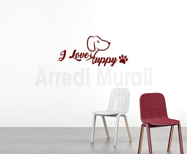 adesivi da parete i love puppy decorazioni murali