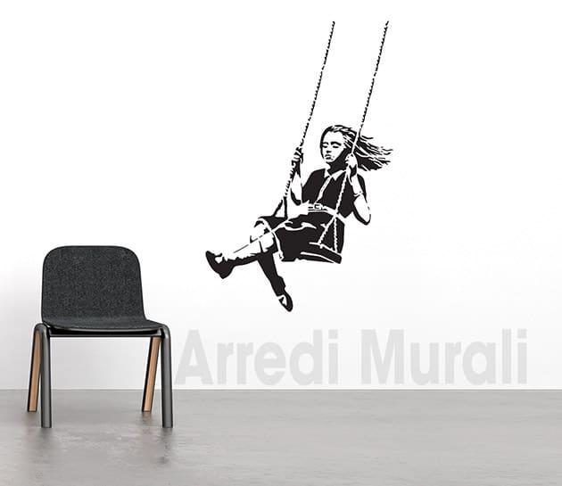adesivi murali Banksy bambina sull'altalena stickers