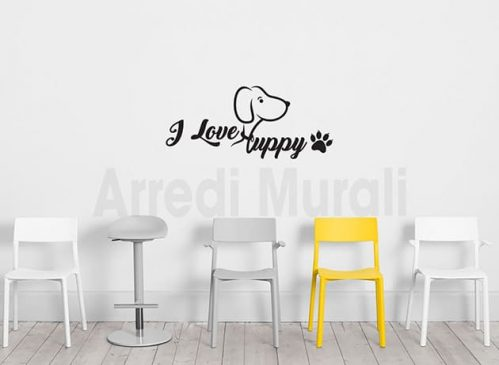 adesivi murali i love puppy decorazioni da parete