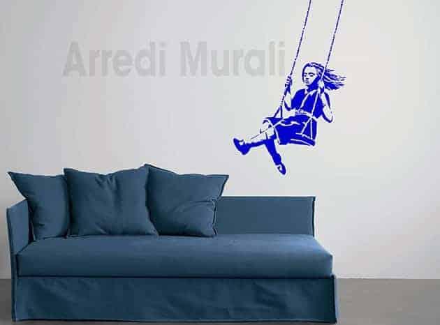 decorazioni da parete Banksy bambina sull'altalena adesivi murali