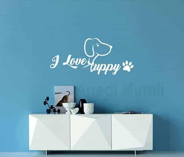 decorazioni da parete i love puppy adesivi murali