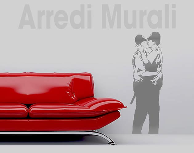 stickers murali Banksy Kissing coppers decorazioni da parete