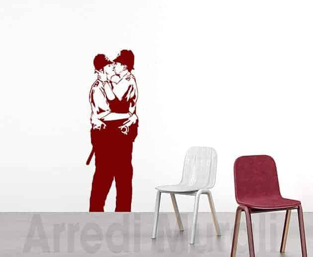 wall stickers Banksy Kissing Policemen decorazioni murali