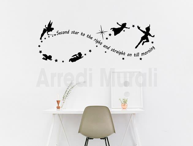 Adesivi murali frase Peter Pan decorazioni da parete