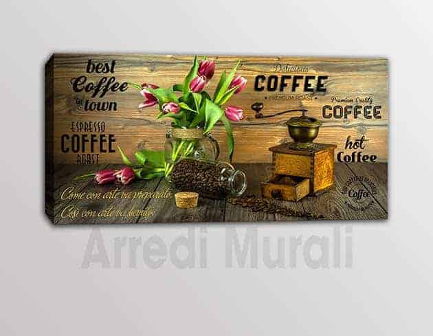 QUADRO MODERNO FRASE Caffè STAMPA SU TELA ARREDO BAR
