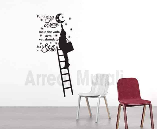 adesivi da parete frase stelle luna decorazioni murali