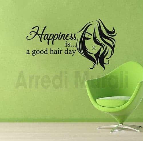 adesivi murali frase parrucchiere donna decorazioni