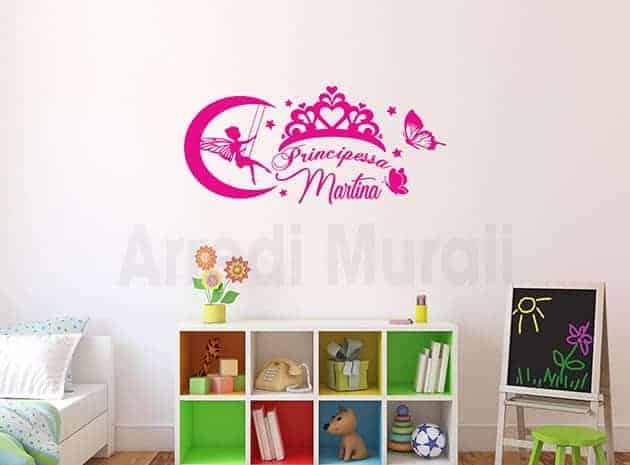 adesivi murali personalizzati cameretta principessa