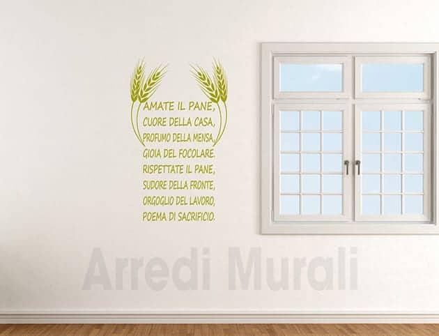 decorazioni adesive da parete cucina frase pane