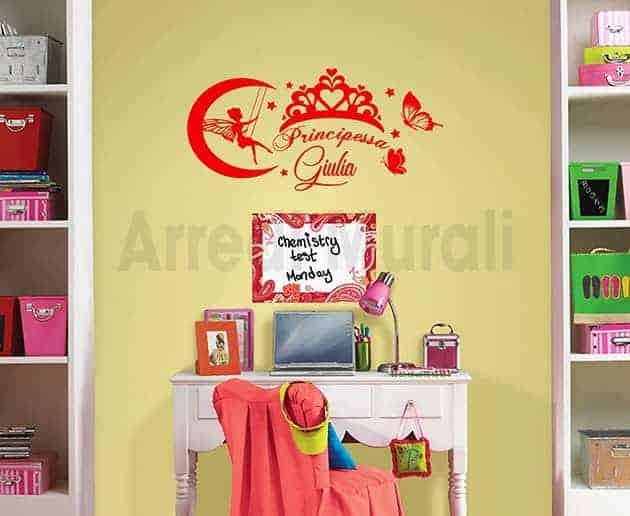Adesivi murali personalizzati cameretta principessa for Decorazioni da parete adesive