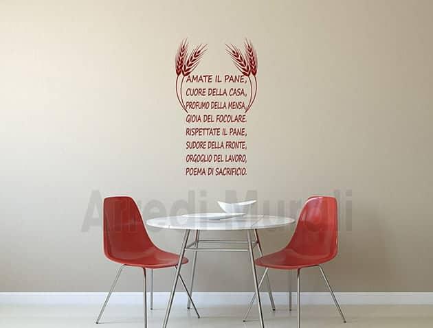 Adesivi da parete frase pane decorazioni murali cucina - Stickers da parete personalizzati ...