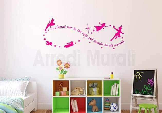 wall stickers frase Peter Pan decorazioni da parete