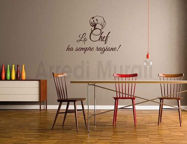 Adesivi murali cucina chef decorazioni da parete - Adesivi da parete per cucina ...