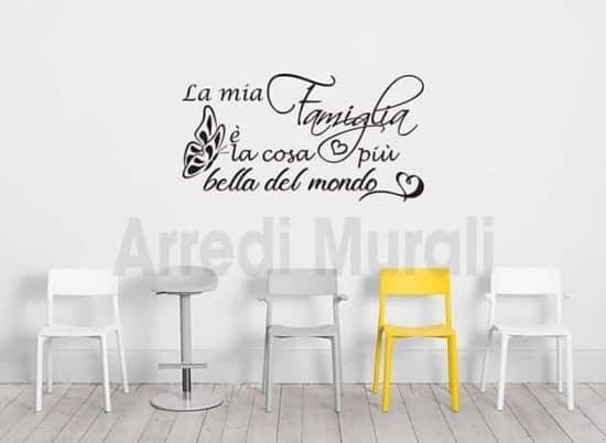 adesivi da parete frase famiglia decorazioni murali