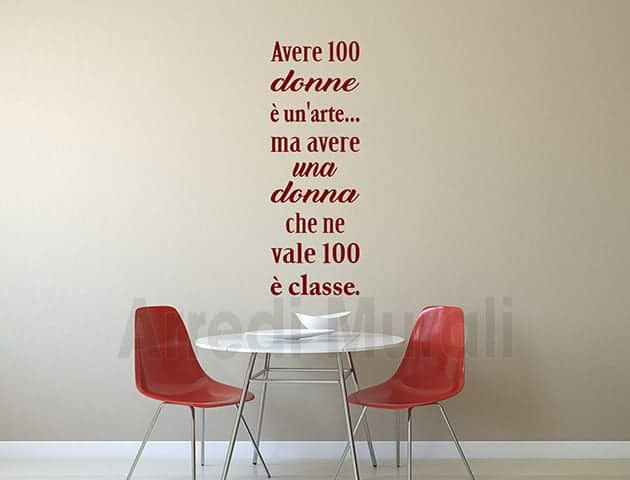 wall stickers frase cento donne decorazioni da muro