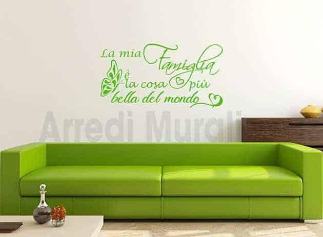 wall stickers frase famiglia decorazioni da muro