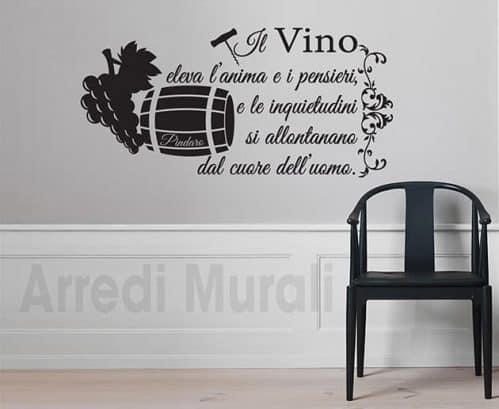 Adesivi da parete frase vino Pindaro decorazioni murali