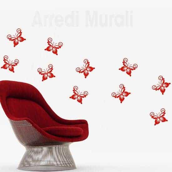 Adesivi murali farfalle decorazioni da parete rosse