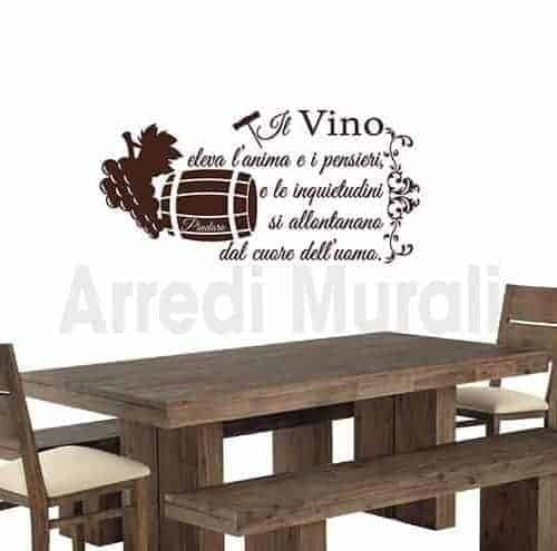 Adesivi murali frase vino Pindaro decorazioni da parete