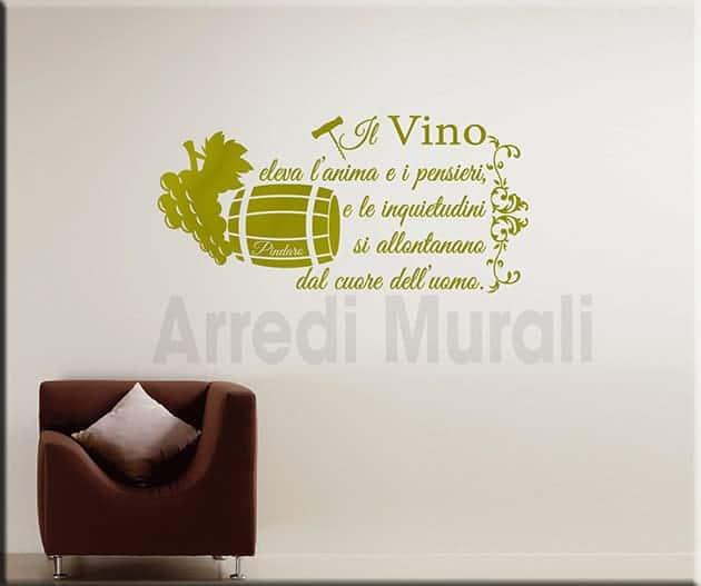 decorazioni da parete frase vino Pindaro adesivi murali