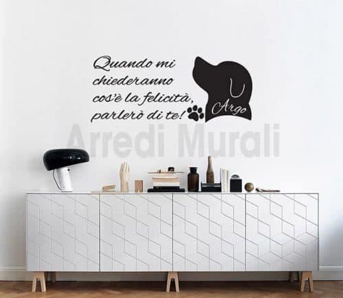 stickers murali frase personalizzata nome cane