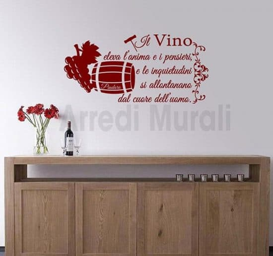 wall stickers frase vino Pindaro decorazioni murali