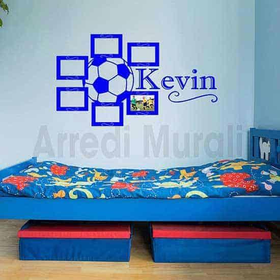 Cornici adesive camerette con nome blu