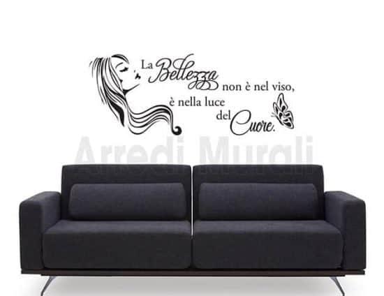 adesivi da parete frase estetica bellezza donna arredo