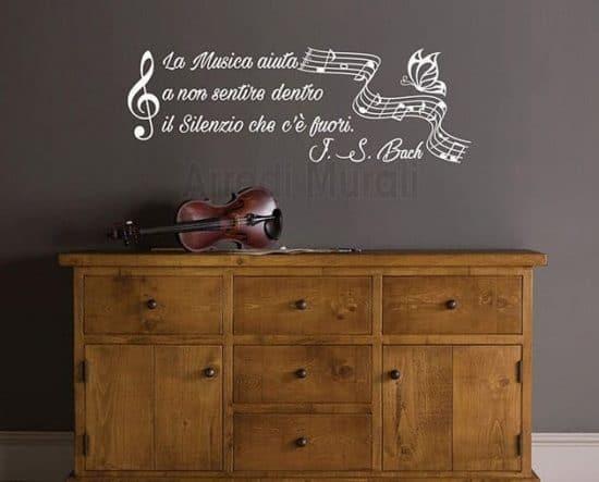 adesivi da parete frase musica Bach decorazioni