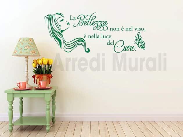 adesivi murali frase estetica bellezza donna arredo