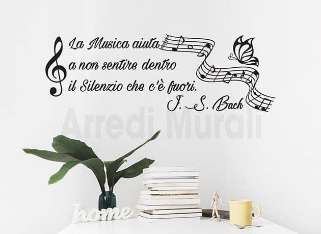 adesivi murali frase musica Bach decorazioni