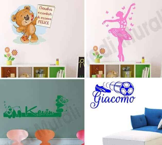 adesivi murali nomi di arredi murali per personalizzare le camerette