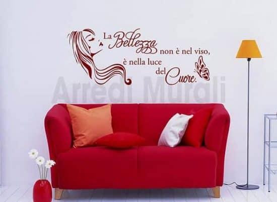 decorazioni murali frase estetica bellezza donna arredo