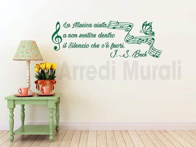 stickers murali frase musica Bach decorazioni