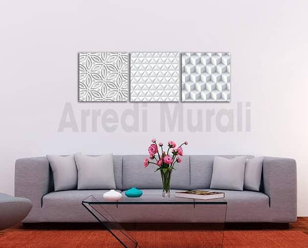 tris quadri moderni stampe digitali effetto 3d