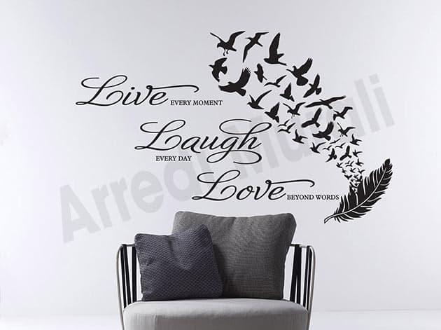 Stickers murali frase vita decorazioni da parete
