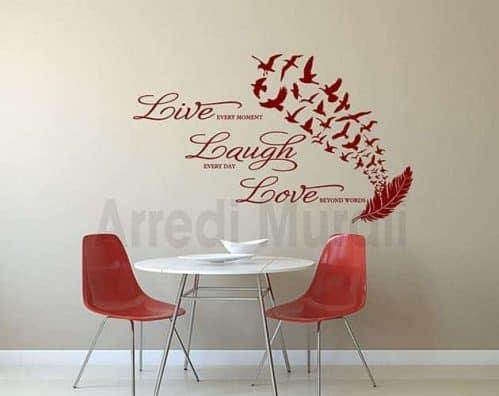 adesivi da parete frase vita decorazioni murali