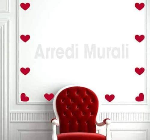 adesivi murali cuori decorazioni da parete