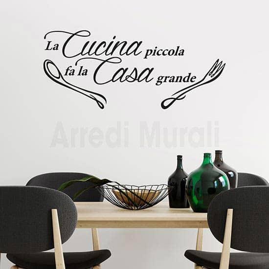 Stickers murali frase cucina con posate nero