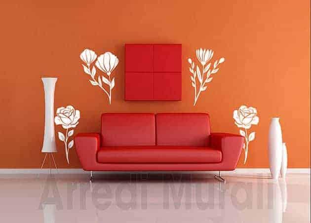 adesivi da parete fiori decorazioni murali